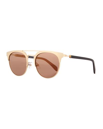 Round Semi-Rimless Mirrored Sunglasses
