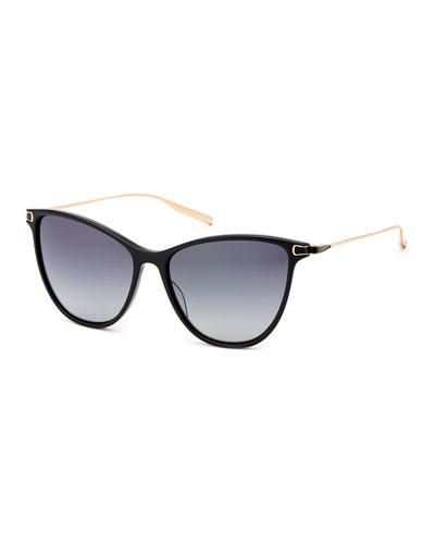 Nia Acetate & Titanium Round Sunglasses, Black