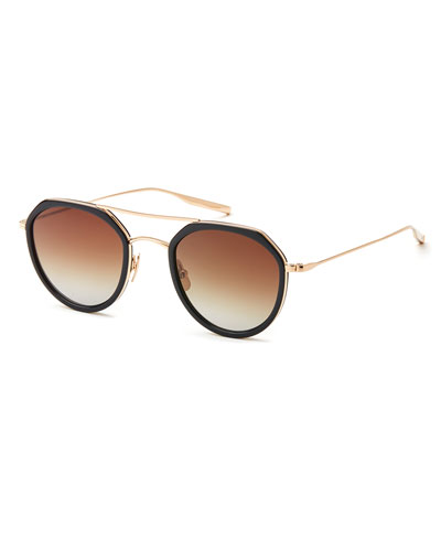 Acetate & Titanium Round Polarized Sunglasses, Black/Gold