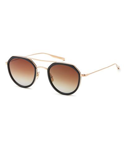 Acetate & Titanium Round Polarized Sunglasses, Black/Gold