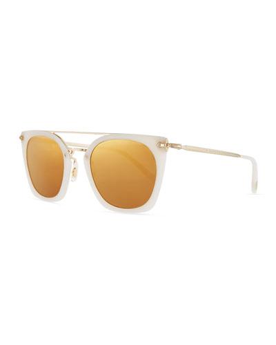 Dacette Mirrored Cat-Eye Sunglasses, White