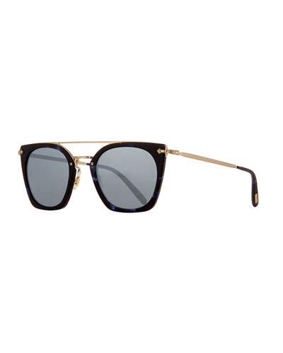 Dacette Mirrored Cat-Eye Sunglasses, Black
