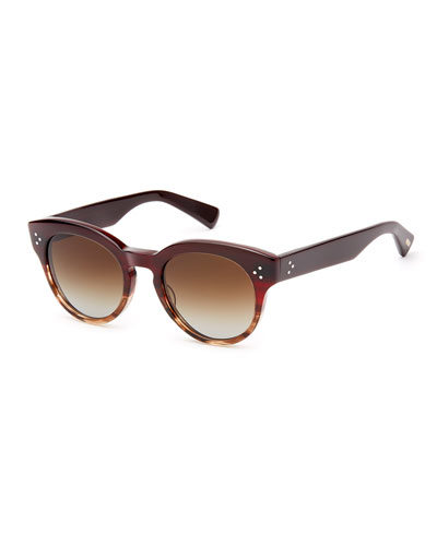 Lorna Two-Tone Round Polarized Titanium Sunglasses