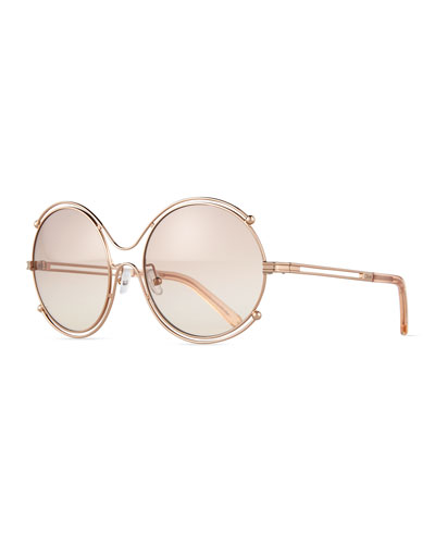 CHLOÉ ISIDORA CE 122S OVAL OVERSIZED METAL WOMEN'S SUNGLASSES, ROSE GOLD