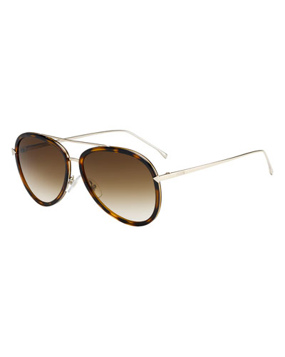 Trimmed Gradient Aviator Sunglasses