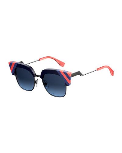 Semi-Rimless Squared Cat-Eye Sunglasses