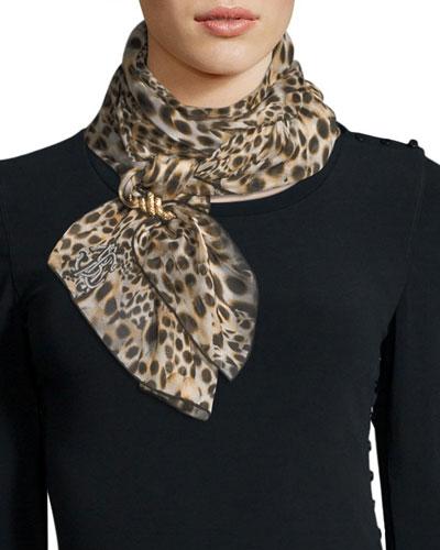 Woven Python-Print Silk Scarf, Sand