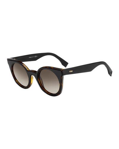 Round Two-Tone Gradient Sunglasses