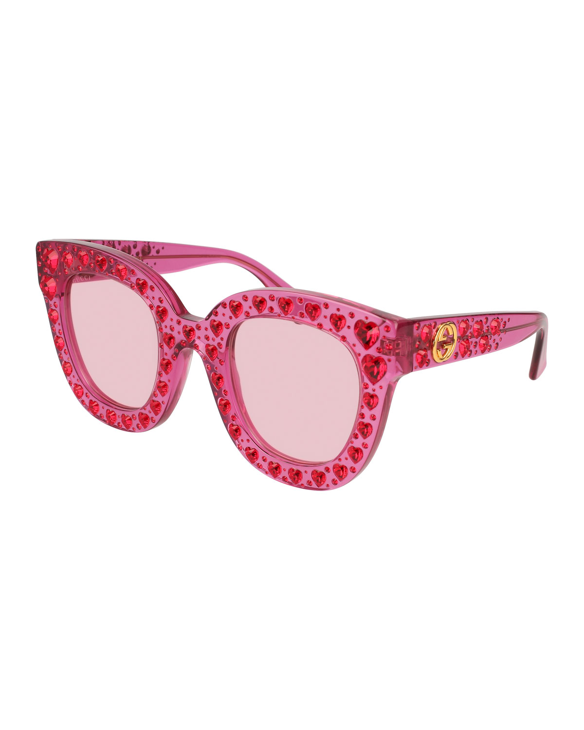 Cat-Eye Crystal-Heart Acetate Sunglasses