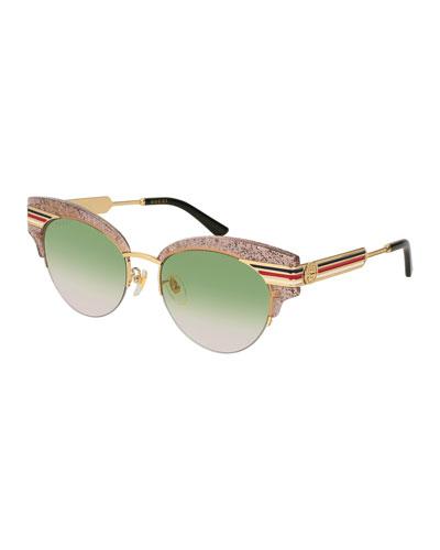 Cat-eye Glittered Acetate And Gold-tone Sunglasses - Green Gucci MtKzqU