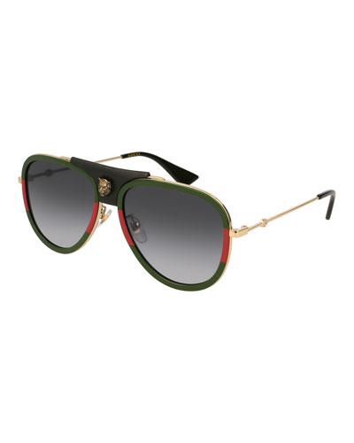 Gucci Gradient Web Aviator Sunglasses w/ Leather Trim,