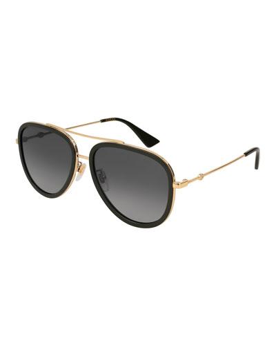 Gucci Metal & Acetate Gradient Aviator Sunglasses, Gold/Black