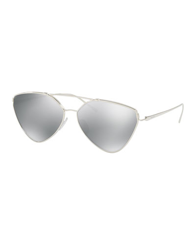 Mirrored Aviator Sunglasses, Silver