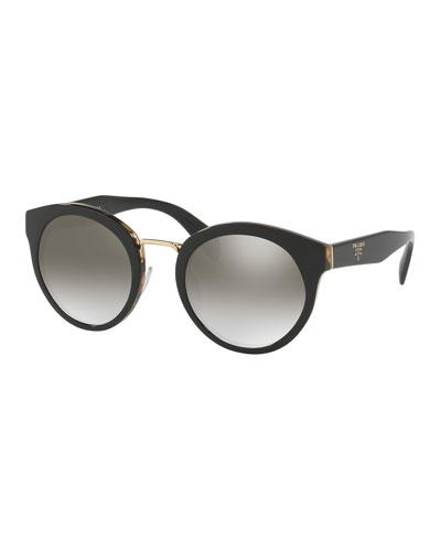 Round Acetate Mirrored Sunglasses w/ Metal Trim