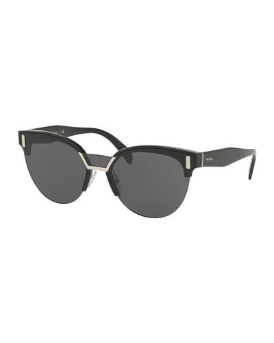 Semi-Rimless Butterfly Sunglasses