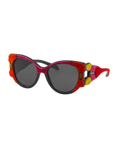 Butterfly Sunglasses w/ Velvet Detail