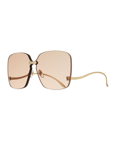 Rimless Square Low-Temple Sunglasses