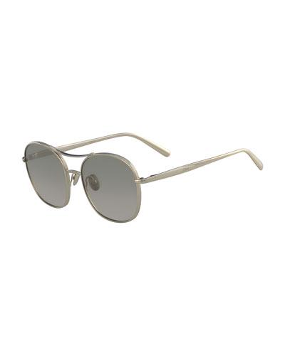 Nola Metal Aviator Sunglasses