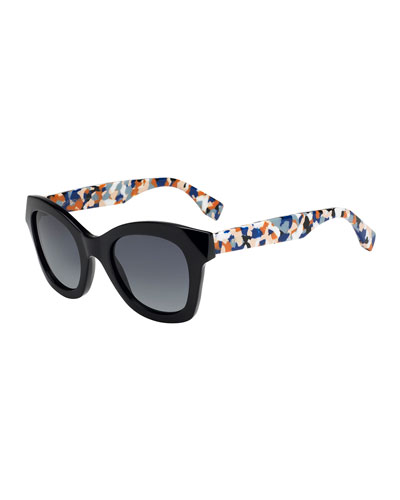 Square Sunglasses w/ Contrast Speckled Arms