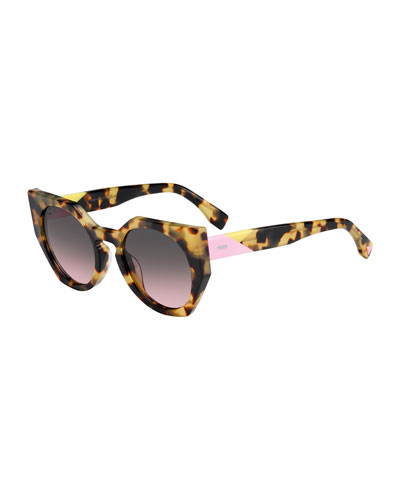 Tricolor-Arm Geometric Gradient Sunglasses