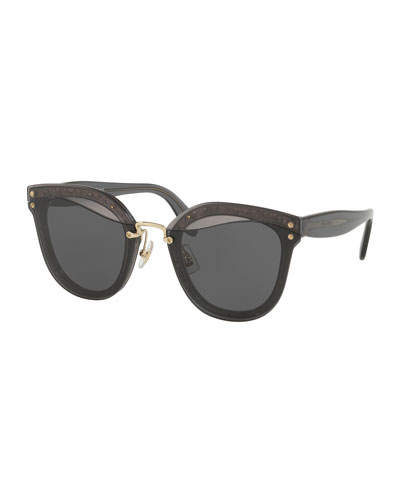 MIU MIU Women'S Cat Eye Glitter Sunglasses, 67Mm, Dark Gray