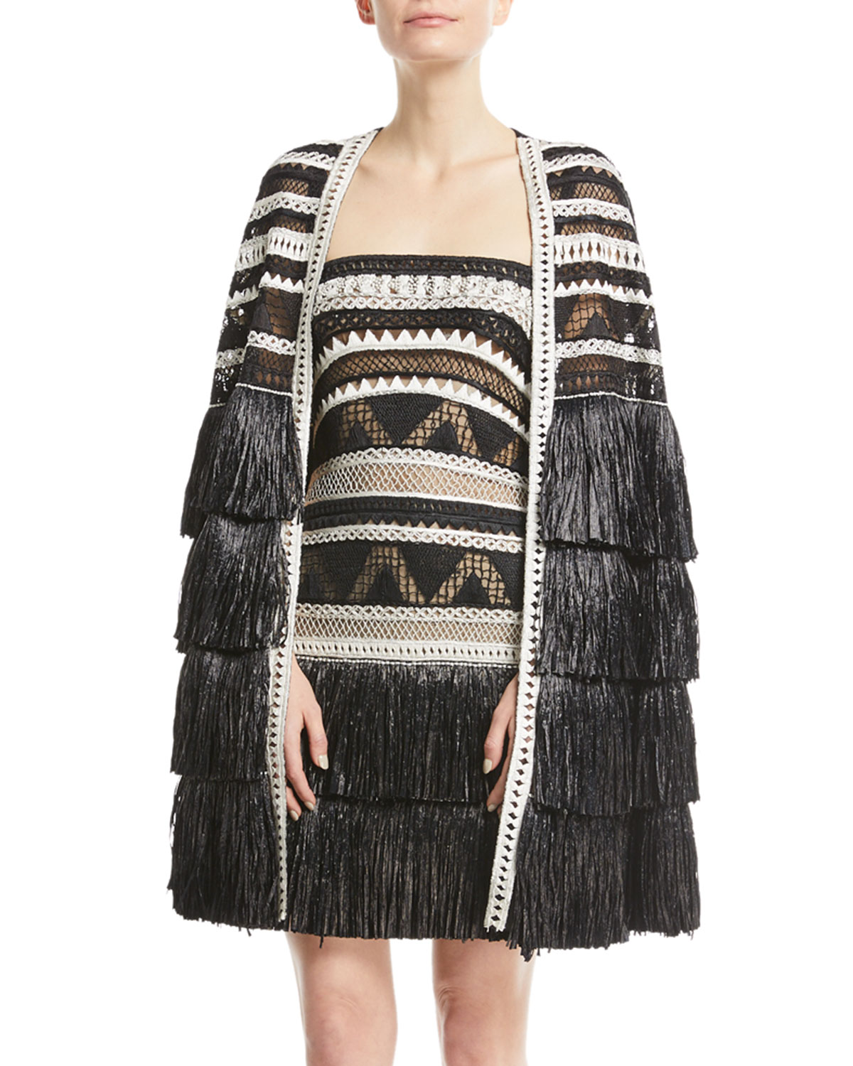 Crocheted Tier-Fringe Cape