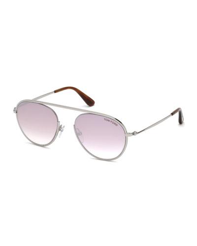 Keith Round Brow-Bar Metal Sunglasses, Brown/Silver