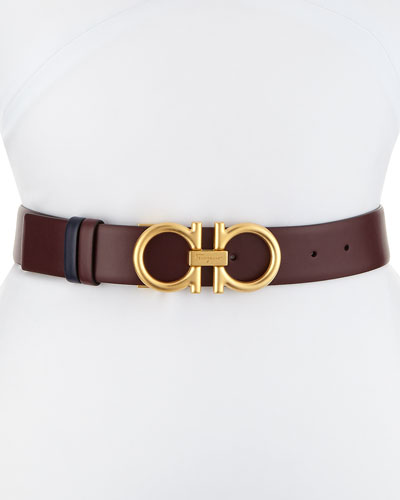 Reversible Gancini Leather Belt