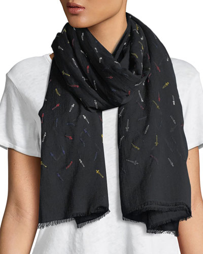 Embroidered Dagger Frayed-Edge Scarf