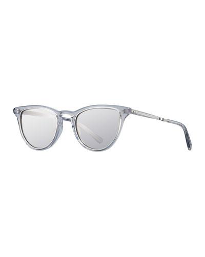 Mr. Leight Mirrored Cat-Eye Acetate Sunglasses, Gray