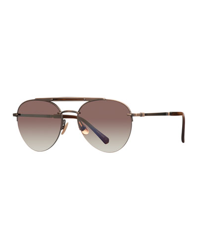 1abc24c8bb9 Platinum Plated Titanium Aviator Sunglasses w  Acetate Trim