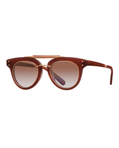 Gradient Acetate Cat-Eye Sunglasses, Red/Brown