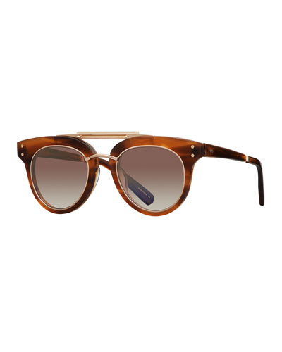 Gradient Acetate Cat-Eye Sunglasses, Brown Pattern