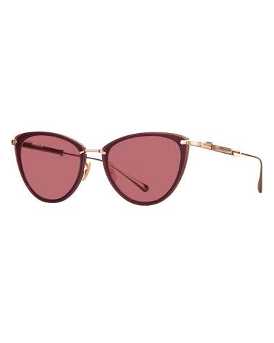 Platinum Plated Titanium Cat-Eye Sunglasses, Black/Pink