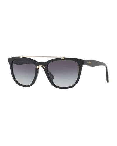 Rockloop Square Brow-Bar Sunglasses