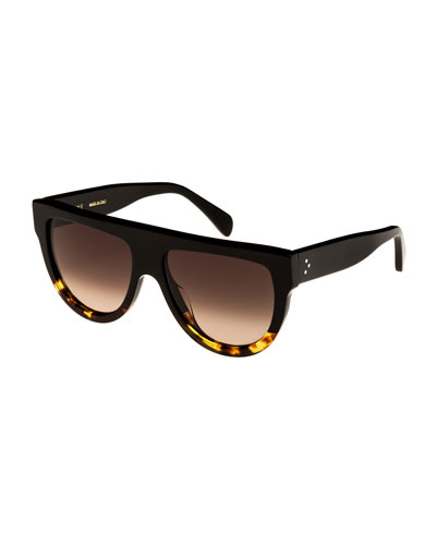 Flattop Two-Tone Shield Sunglasses, Black Pattern