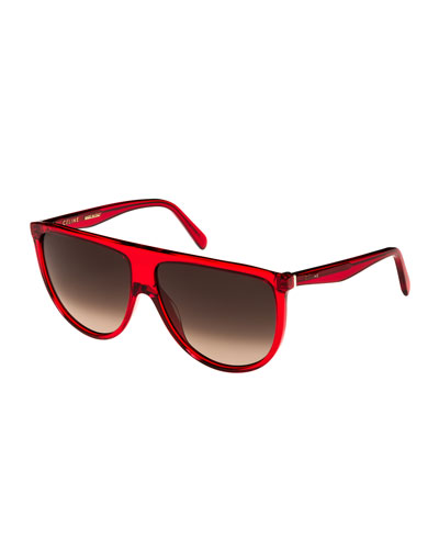 Flattop Gradient Shield Sunglasses, Pink Pattern