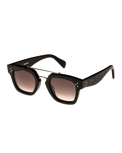 Square Gradient Acetate & Metal Sunglasses, Black