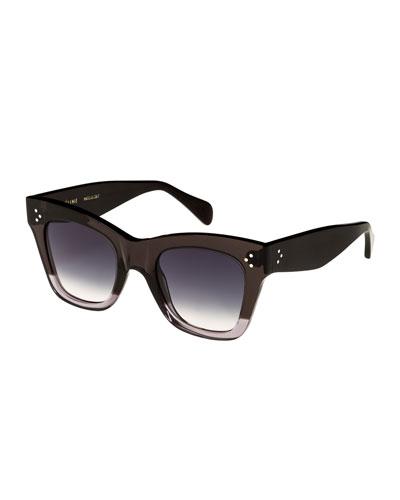 Two-Tone Gradient Cat-Eye Sunglasses, Gray Pattern