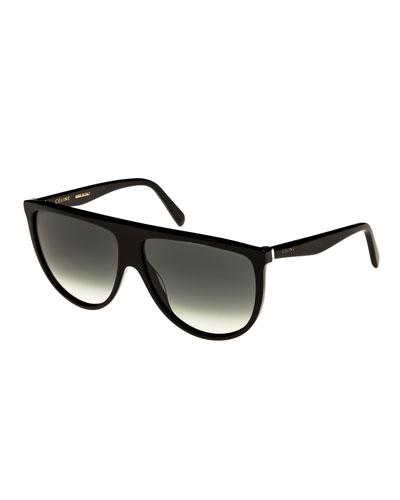Flattop Gradient Shield Sunglasses, Black