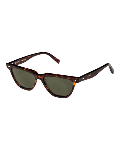 Cat-Eye Monochromatic Acetate Sunglasses, Dark Brown