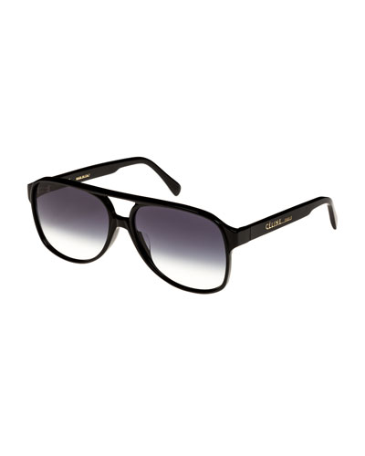 Mirrored Acetate Aviator Sunglasses, Black