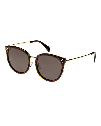 Round Acetate & Metal Monochromatic Sunglasses, Light Brown