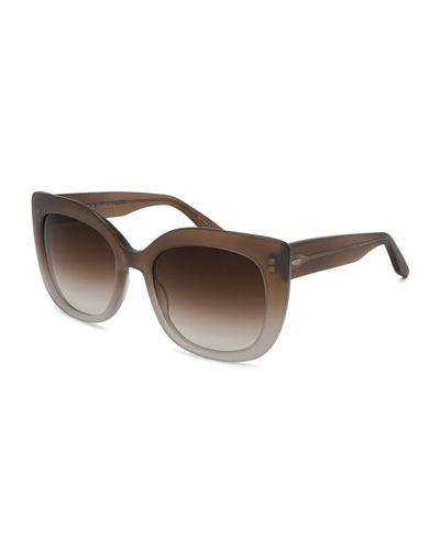 Olina Gradient Chunky Cat-Eye Sunglasses, Sandstone/Smoky Topaz