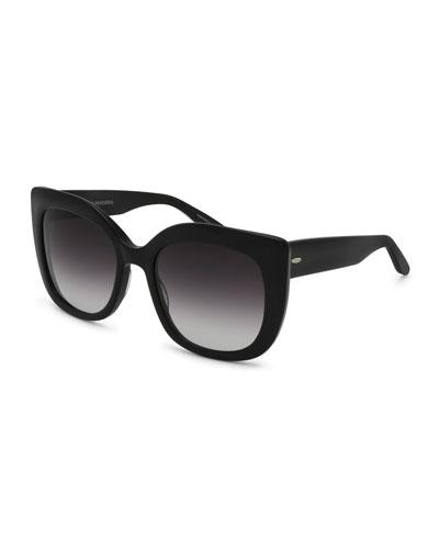 Olina Gradient Chunky Cat-Eye Sunglasses, Black/Smolder