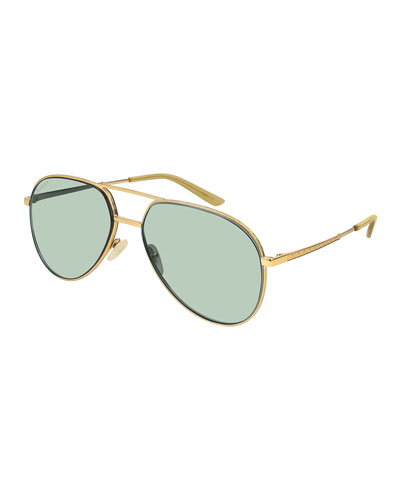 Engraved Metal Aviator Sunglasses