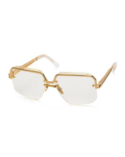 Celine Rectangle Semi-Rimless Metal Sunglasses