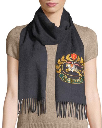 4f029ddefef Vintage Crest Embroidered Cashmere Scarf