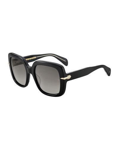 Square Polarized Acetate Sunglasses w/ Metal Trim