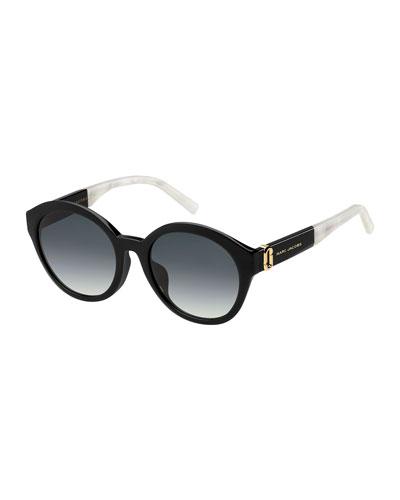 Two-Tone Round Gradient Sunglasses